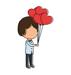 Cute husband with balloons air vector