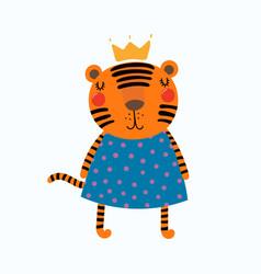Cute tiger princess vector