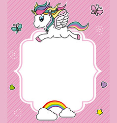 Cute unicorn card vector