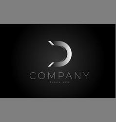 D black white silver letter logo design icon vector