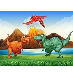 Dinosaurs fighting in the field vector