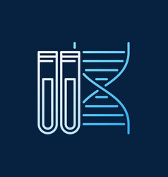 Dna with two test-tubes line colorful icon vector