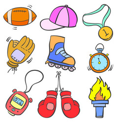 Doodle of sport equipment cartoon style vector