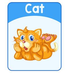 Educational english word card cat vector