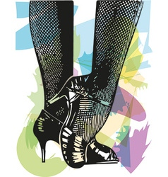 Female ballroom shoes latin and salsa dancer feet vector image
