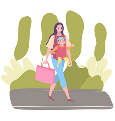 Female character in dress walks through park vector