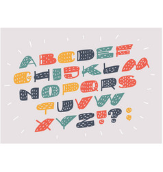 font and alphabet in different colors vector image