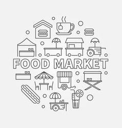 Food market circular symbol street food vector