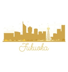 Fukuoka City skyline golden silhouette vector