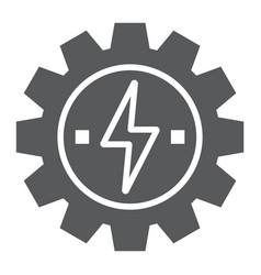 Gear with lightning glyph icon ecology and energy vector