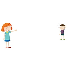 Girl pointing at little boy vector