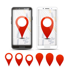 gps navigator red pointers markers set vector image