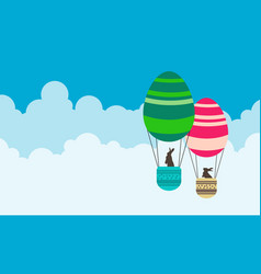 Happy easter with air balloon vector