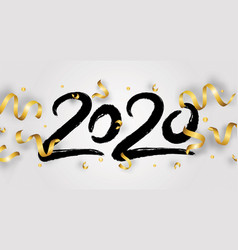 happy new year with 2020 hand drawn numbers vector image