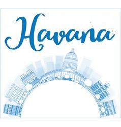 Havana Skyline with Blue Building vector