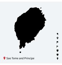 high detailed map sao tome and principe vector image