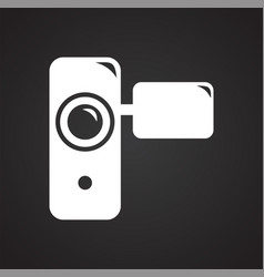 Hnad held vide recorder icon on black background vector