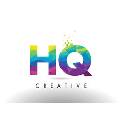 hq h q colorful letter origami triangles design vector image
