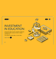 Investment in education isometric landing page vector