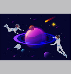 isometric astronauts and robots at spacewalk vector image