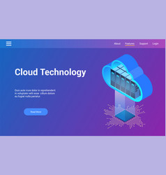 isometric cloud technology theme vector image