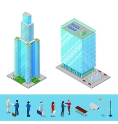 isometric skyscraper city office building vector image
