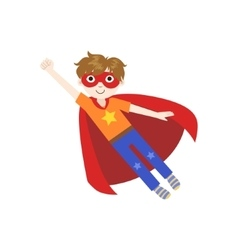 Kid In Superhero Costume Flying vector