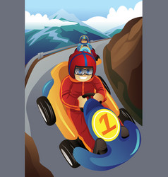 Kids racing in a go-kart vector