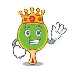 King ping pong racket mascot cartoon vector