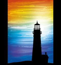 Lighthouse on the sunset vector