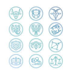 line icons zodiac signs set colorful vector image