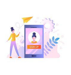 Login or registration of user account concept vector