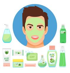 Male beauty treatments with organic aloe vera vector