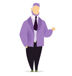 Man stand pose alone isolated manager in suit vector