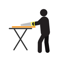 man working with hand saw silhouette icon vector image