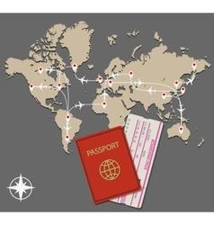 map jet routes passport vector image