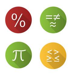 Mathematics flat design long shadow glyph icons vector