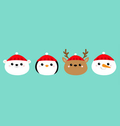 Merry christmas new year white polar bear penguin vector