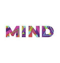 Mind concept retro colorful word art vector