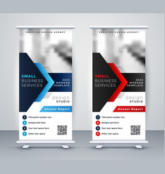 modern company rollup standee banner in blue vector image
