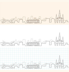 new orleans hand drawn skyline vector image