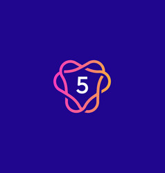 Number 5 logo icon design template creative vector