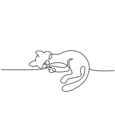 One line drawing cat sitting with curled tail vector