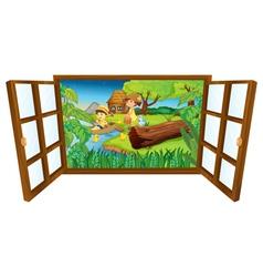 Open barn windown vector