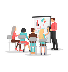 People at business training look at presentation vector