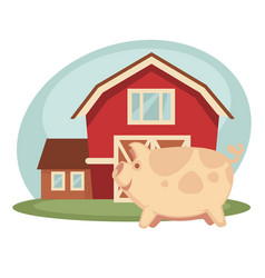 Pig standing on farm vector