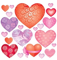 Pink hearts set vector image