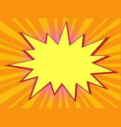 pop art orange background with comic bubble vector image