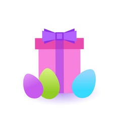 present box with colorful easter eggs icon vector image