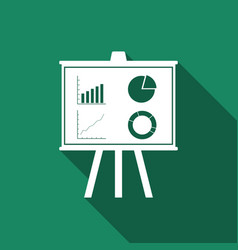 Presentation financial board with graph icon vector